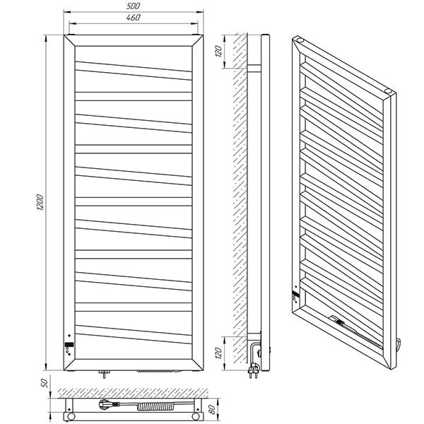 Схема - Рушникосушарка Laris Зебра Міраж ЧФЧ12 500 х 1200 Е (підкл. справа)
