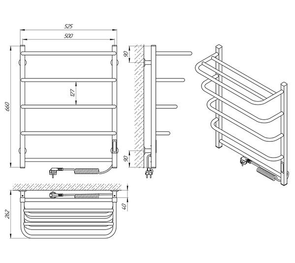 Схема - Полотенцесушитель Laris Зебра Стандарт ЧК5 500 х 660 Э с полкой (подкл. справа) R3