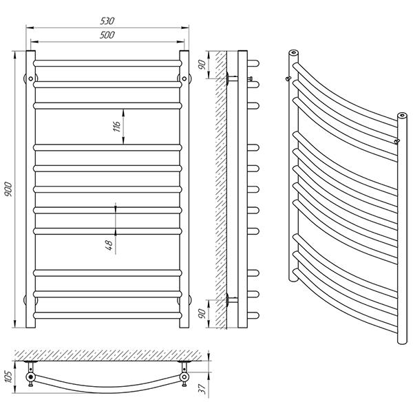 Схема - Полотенцесушитель Laris Классик П11 500 х 900