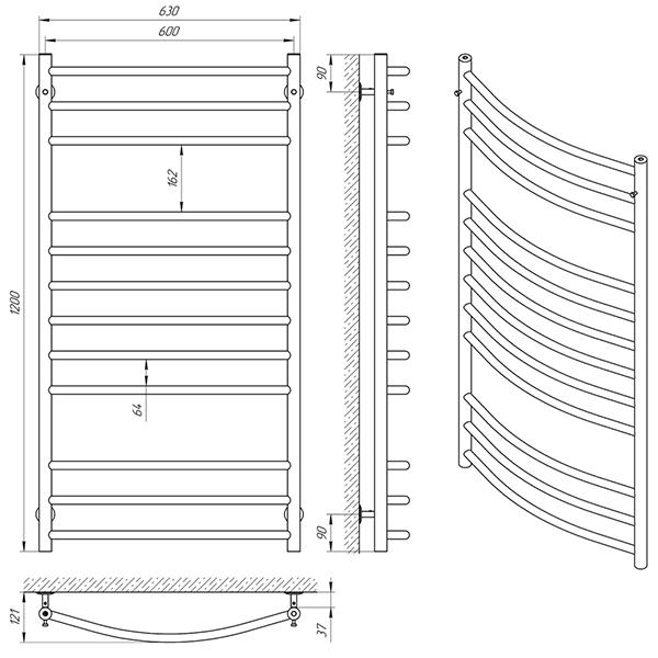 Схема - Рушникосушарка Laris Класік П12 600 х 1200