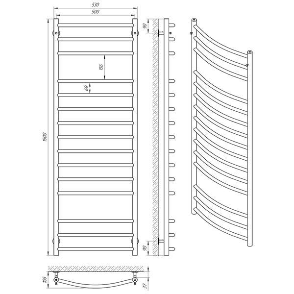 Схема - Полотенцесушитель Laris Классик П15 500 х 1500