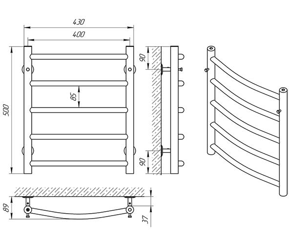 Схема - Рушникосушарка Laris Класік П5 400 х 500