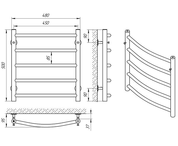 Схема - Полотенцесушитель Laris Классик П5 450 х 500