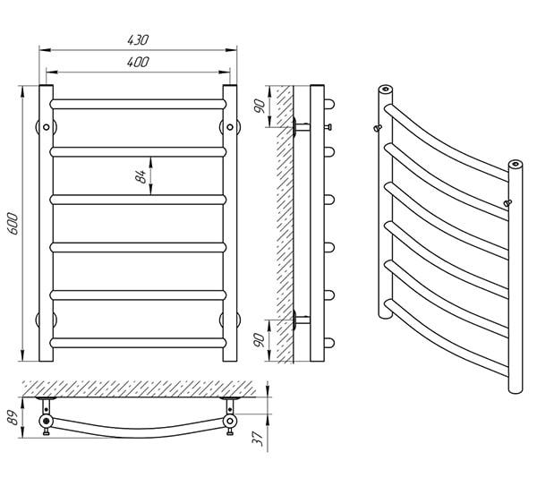 Схема - Рушникосушарка Laris Класік П6 400 х 600