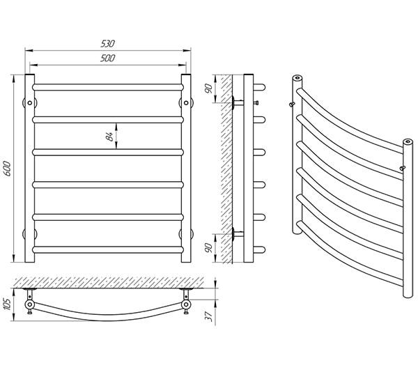 Схема - Полотенцесушитель Laris Классик П6 500 х 600