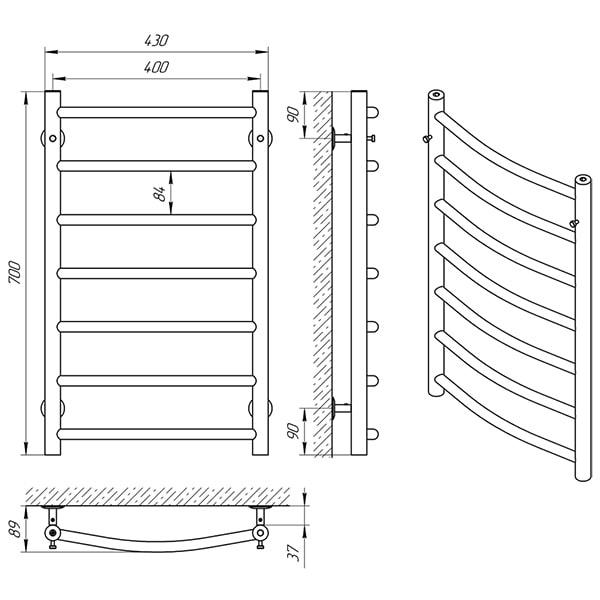Схема - Полотенцесушитель Laris Классик П7 400 х 700