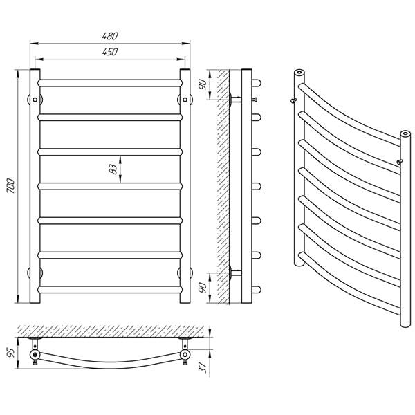 Схема - Рушникосушарка Laris Класік П7 450 х 700