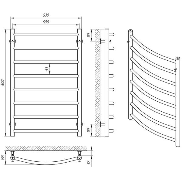 Схема - Рушникосушарка Laris Класік П8 500 х 800