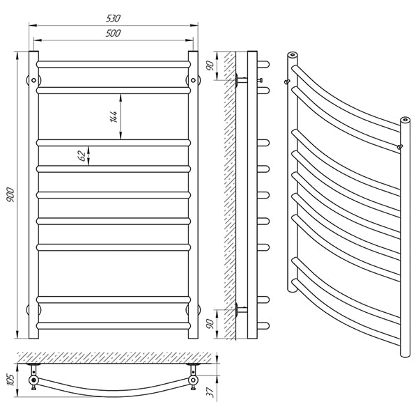Схема - Полотенцесушитель Laris Классик П9 500 х 900