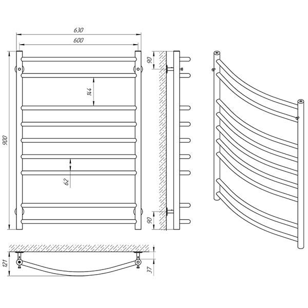Схема - Полотенцесушитель Laris Классик П9 600 х 900