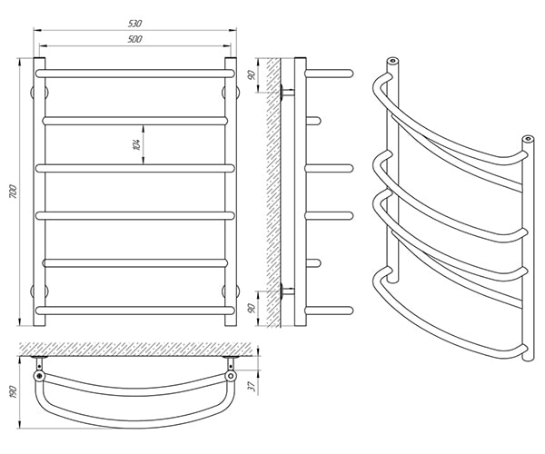 Схема - Рушникосушарка Laris Єврофлеш П6 500 х 700