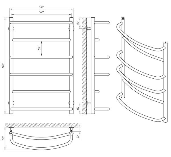 Схема - Рушникосушарка Laris Єврофлеш П6 500 х 800
