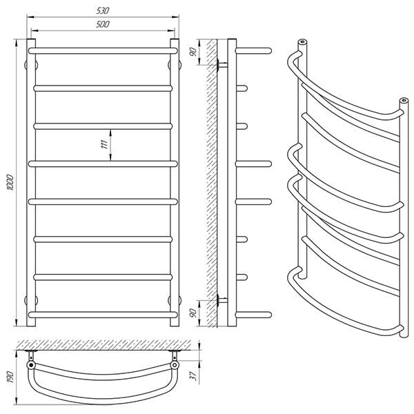 Схема - Полотенцесушитель Laris Еврофлеш П8 500 х 1000