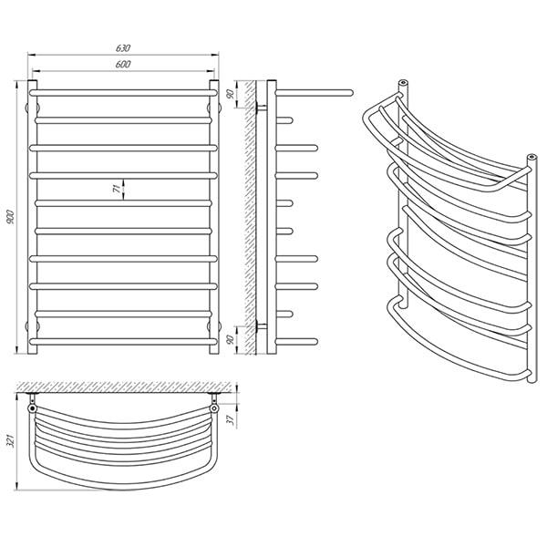 Схема - Рушникосушарка Laris Євромікс П10 600 х 900 з полицею