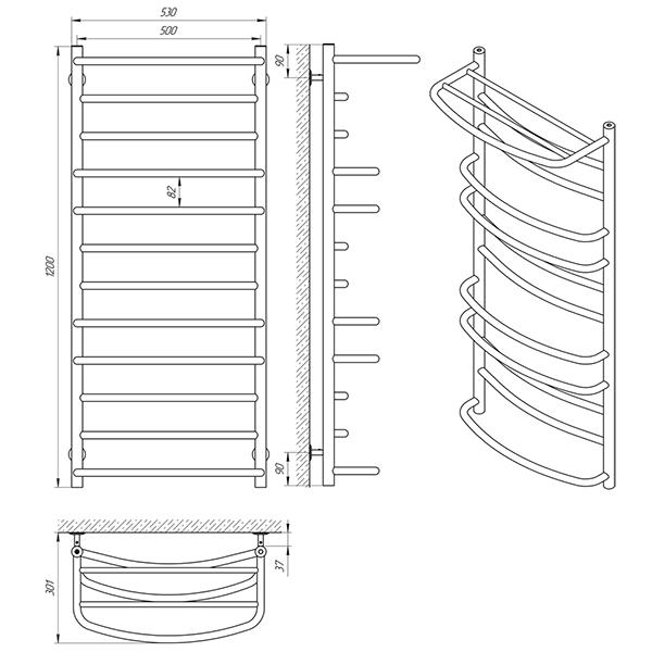 Схема - Рушникосушарка Laris Євромікс П12 500 х 1200 з полицею