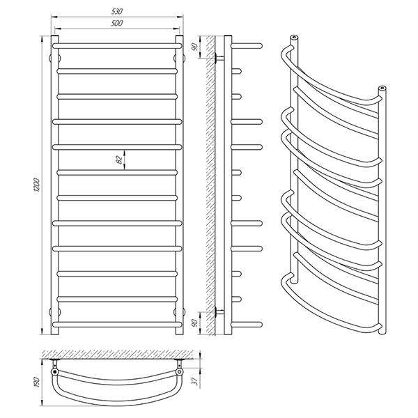 Схема - Полотенцесушитель Laris Евромикс П12 500 х 1200