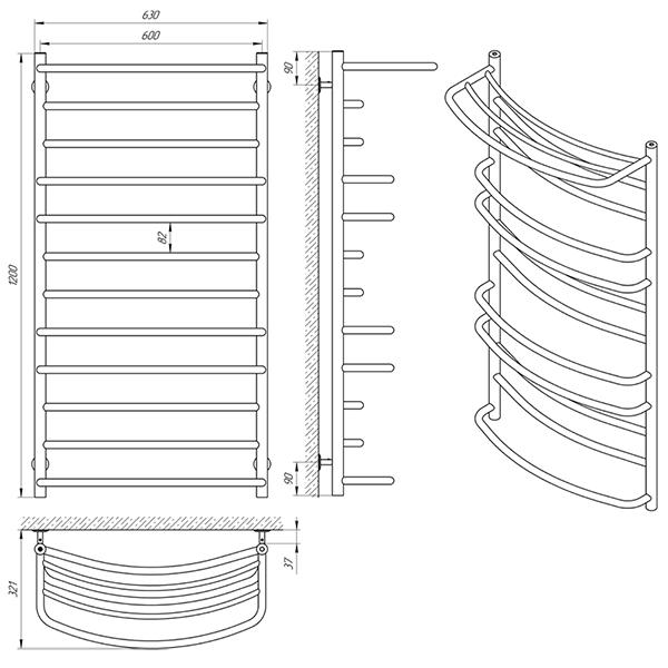 Схема - Рушникосушарка Laris Євромікс П12 600 х 1200 з полицею