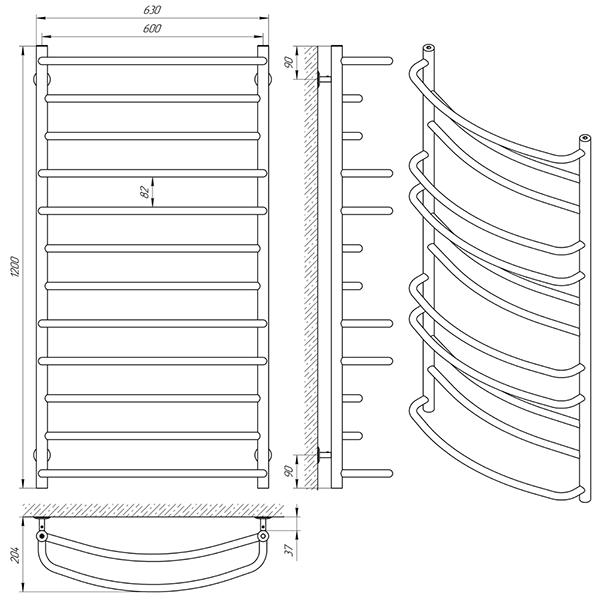 Схема - Полотенцесушитель Laris Евромикс П12 600 х 1200