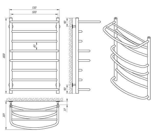 Схема - Рушникосушарка Laris Євромікс П8 500 х 800 з полицею