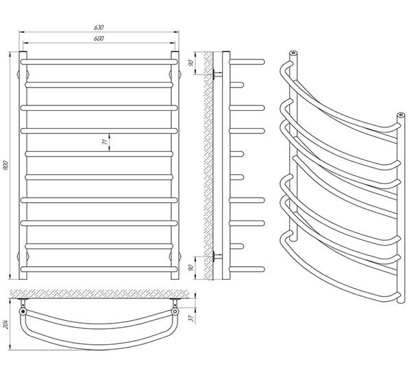 Схема - Рушникосушарка Laris Євромікс П10 600 х 900
