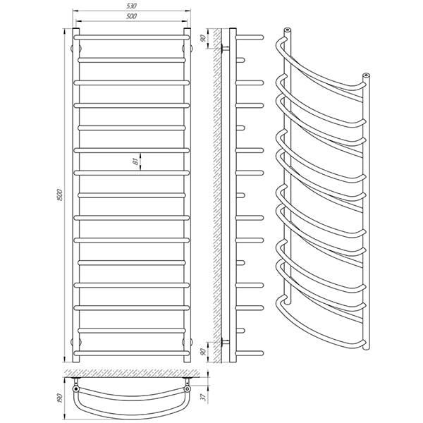 Схема - Рушникосушарка Laris Євромікс П15 500 х 1500