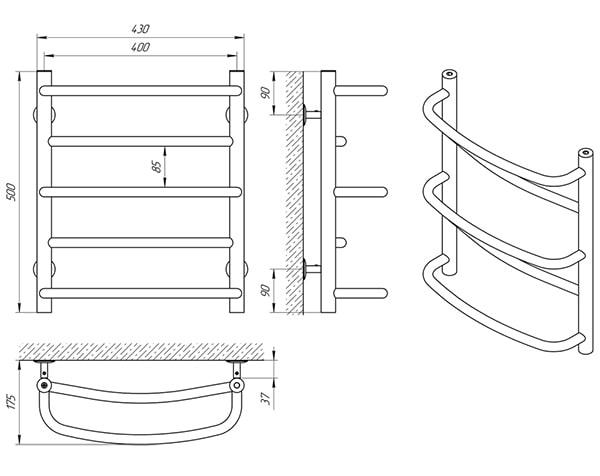Схема - Рушникосушарка Laris Євромікс П5 400 х 500