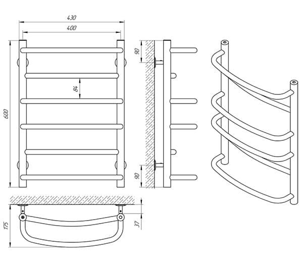 Схема - Рушникосушарка Laris Євромікс П6 400 х 600