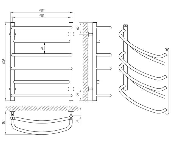 Схема - Полотенцесушитель Laris Евромикс П6 450 х 600
