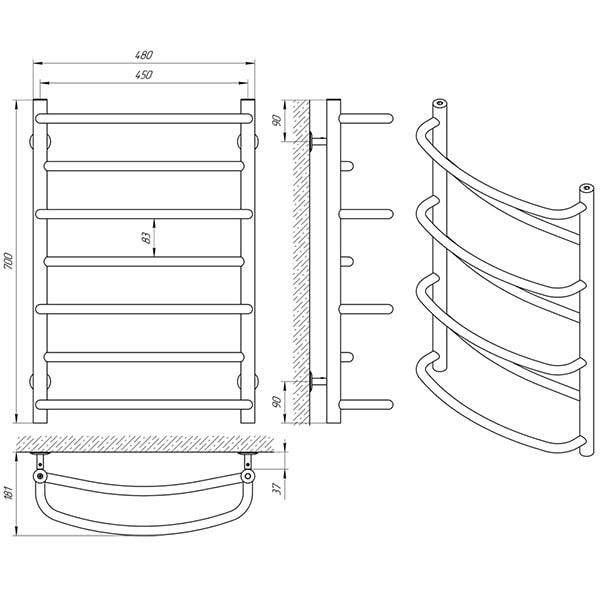 Схема - Рушникосушарка Laris Євромікс П7 450 х 700