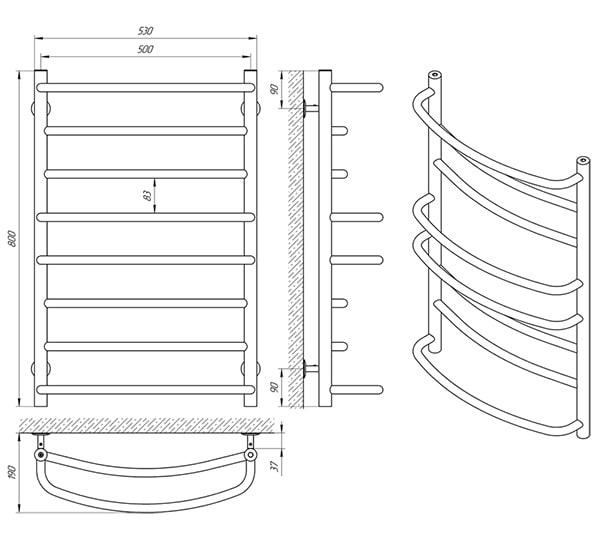 Схема - Рушникосушарка Laris Євромікс П8 500 х 800