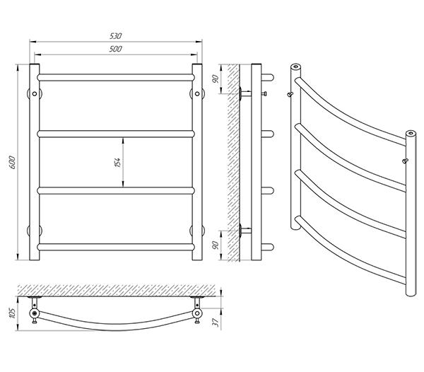 Схема - Полотенцесушитель Laris Флеш П4 500 х 600