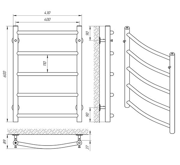 Схема - Рушникосушарка Laris Флеш П5 400 х 600