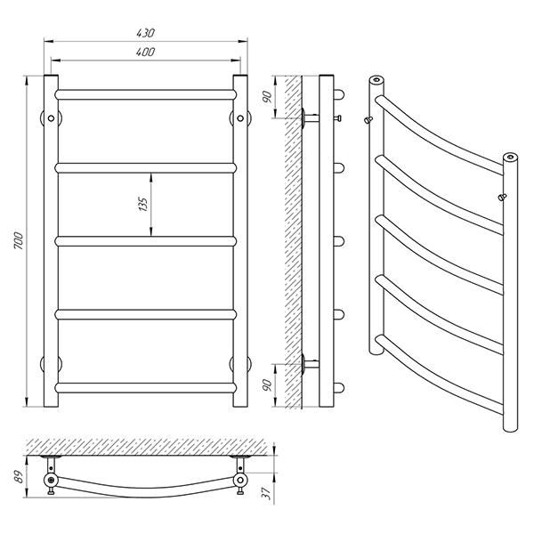 Схема - Рушникосушарка Laris Флеш П5 400 х 700
