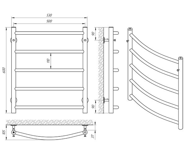 Схема - Полотенцесушитель Laris Флеш П5 500 х 600