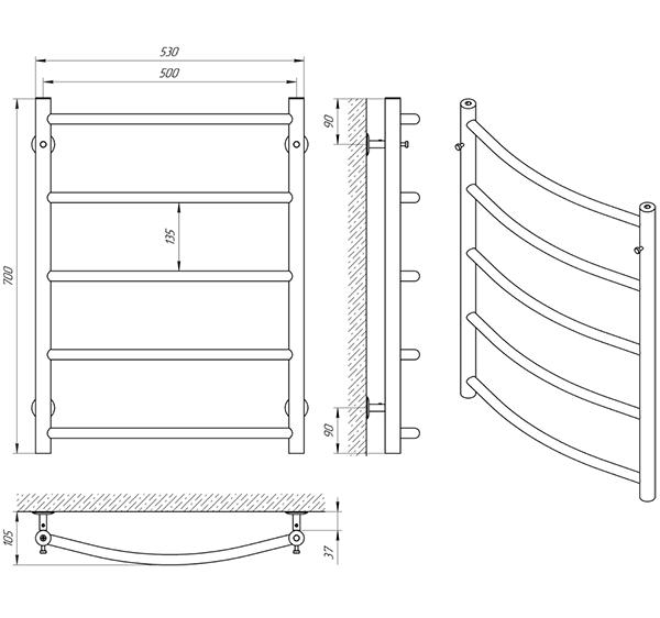 Схема - Рушникосушарка Laris Флеш П5 500 х 700