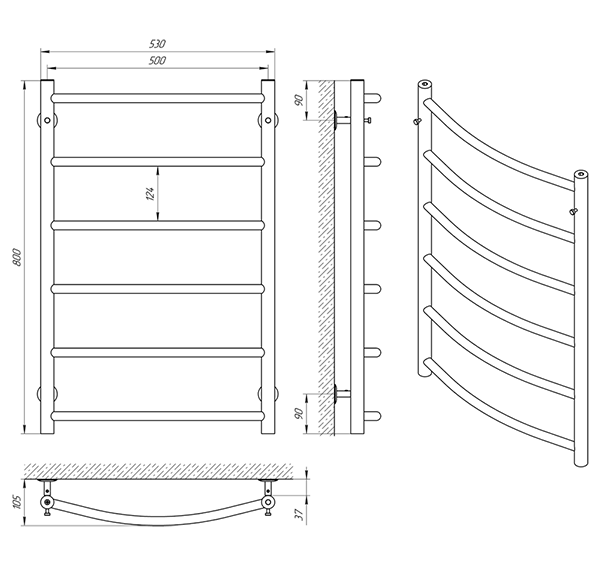 Схема - Полотенцесушитель Laris Флеш П6 500 х 800