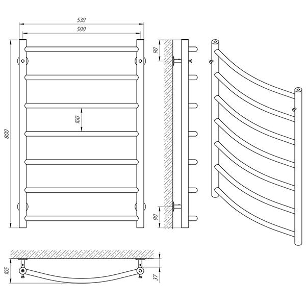 Схема - Рушникосушарка Laris Флеш П7 500 х 800
