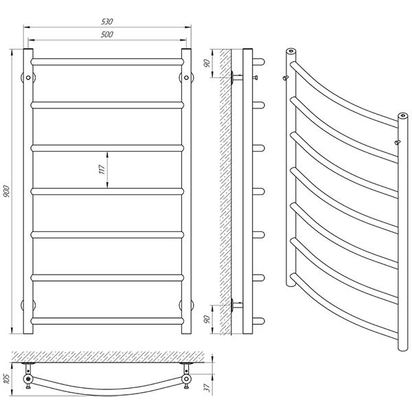 Схема - Рушникосушарка Laris Флеш П7 500 х 900