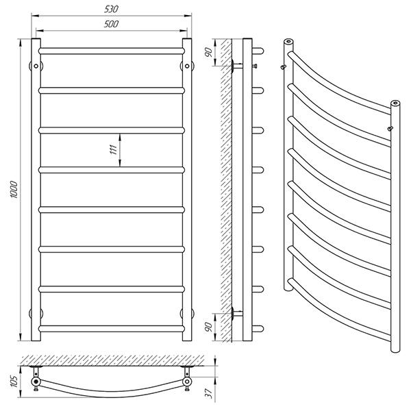 Схема - Рушникосушарка Laris Флеш П8 500 х 1000