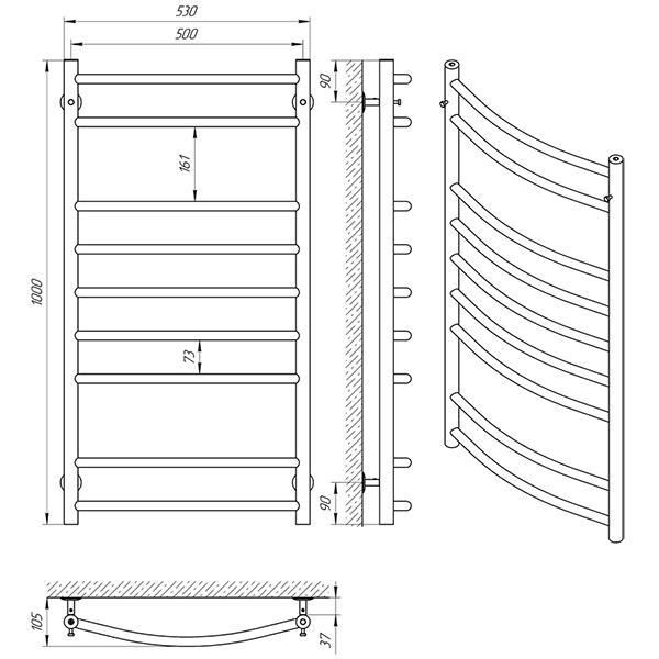 Схема - Рушникосушарка Laris Флеш П9 500 х 1000