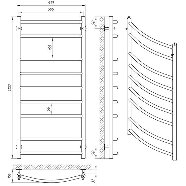 Схема - Рушникосушарка Laris Флеш П9 500 х 1100