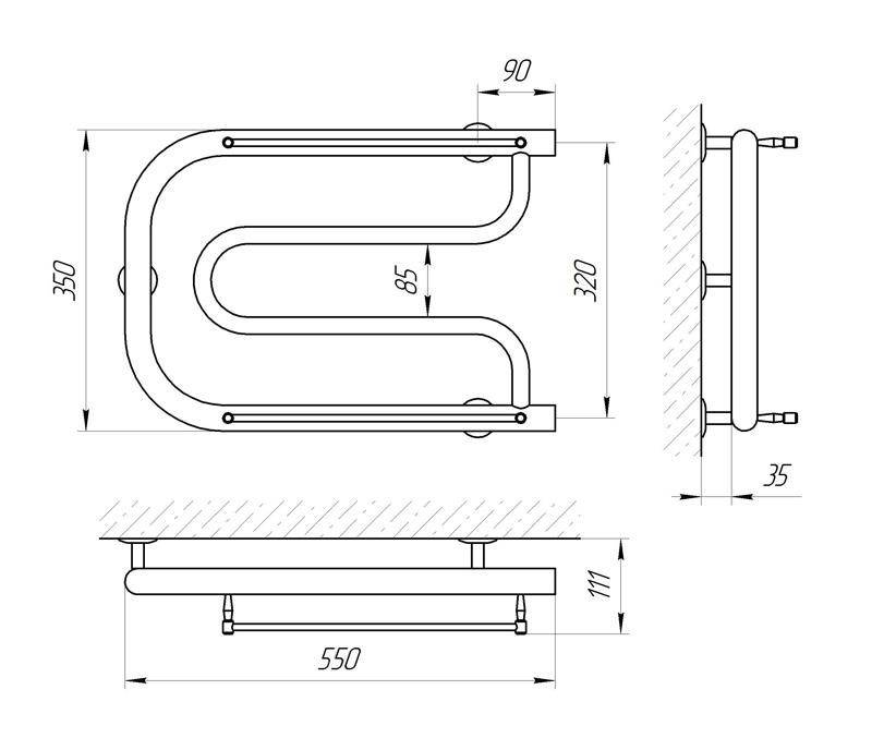 Схема - Рушникосушарка Laris Фокстрот Міні П 550 х 350