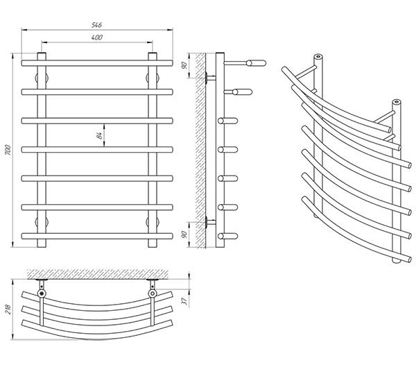 Схема - Рушникосушарка Laris Каскад П7 400 х 700