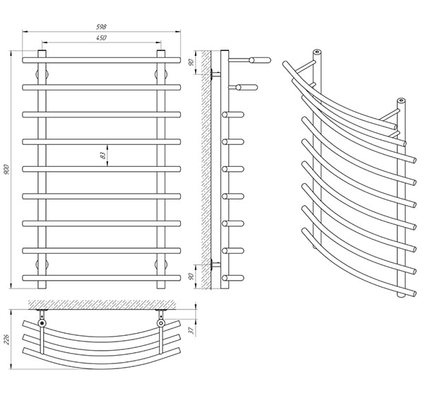 Схема - Полотенцесушитель Laris Каскад П9 450 х 900