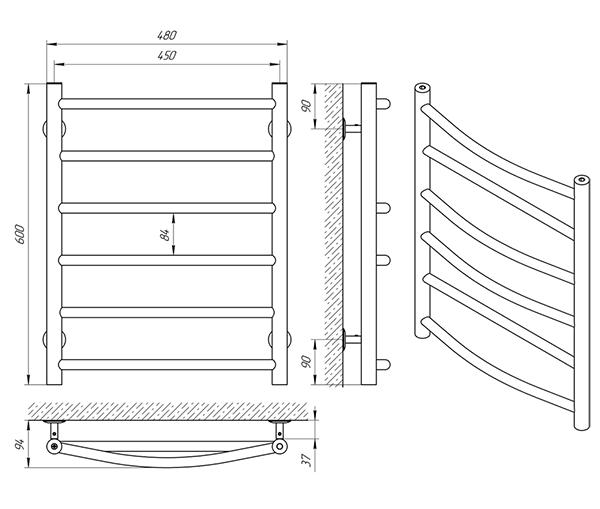 Схема - Полотенцесушитель Laris Микс П6 450 х 600