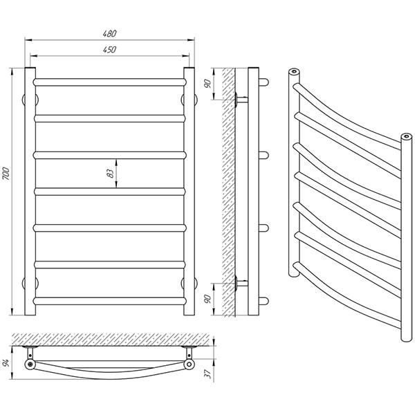 Схема - Полотенцесушитель Laris Микс П7 450 х 700