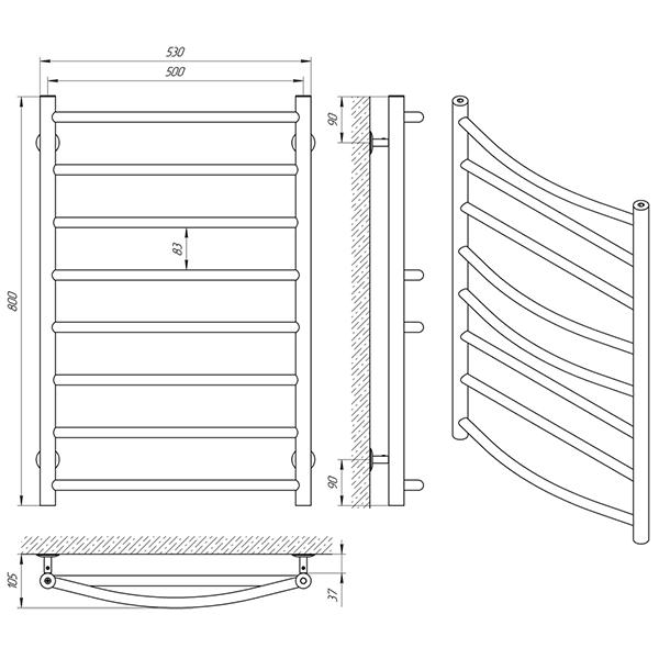 Схема - Рушникосушарка Laris Мікс П8 500 х 800