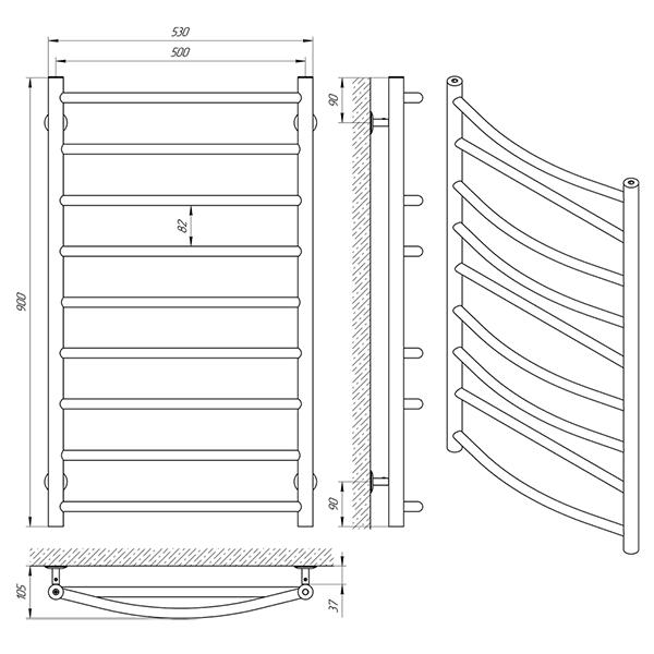 Схема - Рушникосушарка Laris Мікс П9 500 х 900