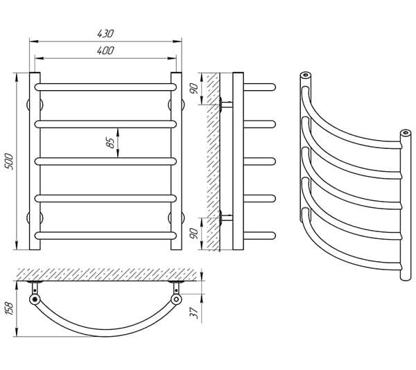Схема - Рушникосушарка Laris Омега П5 400 х 500