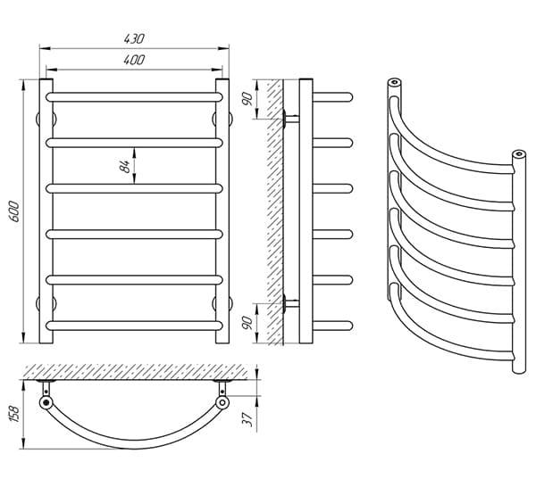 Схема - Полотенцесушитель Laris Омега П6 400 х 600